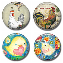 Chicken Rooster 30 MM Fridge Magnet Cartoon Lovely Cute Chick Glass Dome Magnetic Refrigerator Stickers Note Holder Home Decor(China)