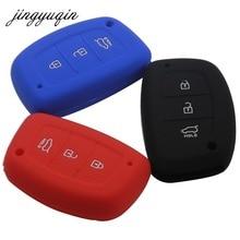 Jingyuqin 3 Knop Smart Silicone Sleutel Case Cover Voor Hyundai Tucson IX35 Solaris I25 I30 Mistra Accent