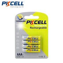 4 قطعة/بطاقات PKCELL ni mh AAA 1200mAh بطاريات 1.2 فولت نيمه AAA بطارية قابلة للشحن تصل إلى 1200 مرات دائرة قدرة عالية