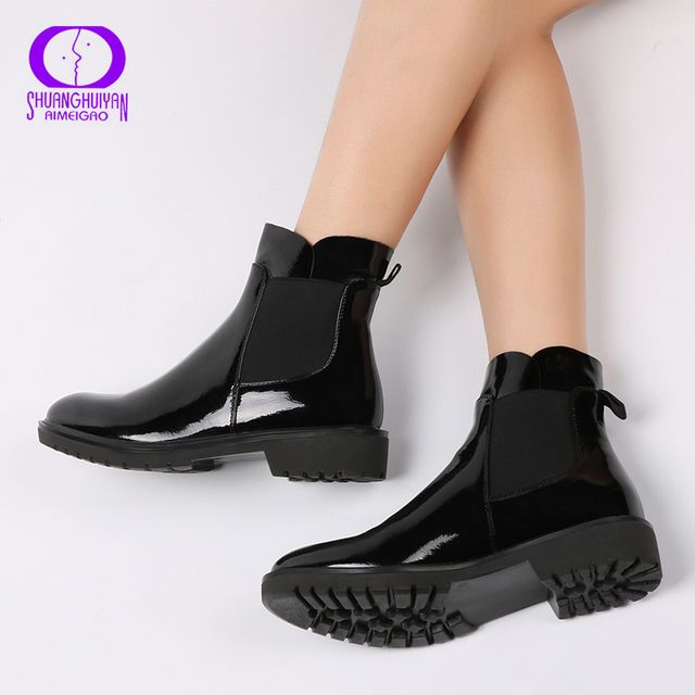 2017 Fashion Slip-On Women Boots Spring Autumn Ankle Platform Flat Boots Ladies Boots Black PU Leather Shoes For Women