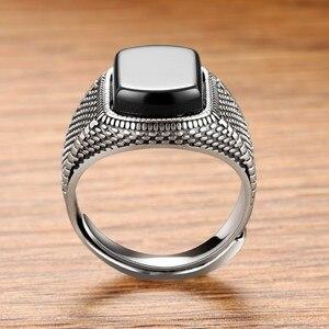 Image 3 - ZABRA Schwarz Stein Ring Männer Echt 925 Sterling Silber Öffnen Größe Vintage Hochzeit Frauen Herren Ringe Zirkonia Onyx Schmuck