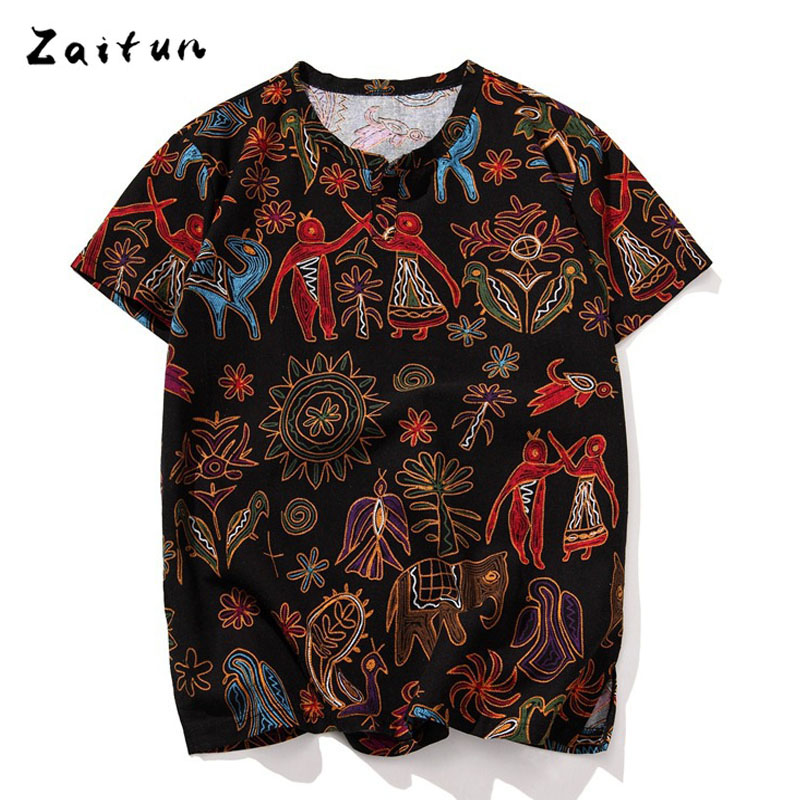 Zaitun Plus Size 5XL Folk-Custom Floral Print Men t shirts Linen Cotton Short Sleeve O Neck Slim Fit Swag Fashion Brand Clothing