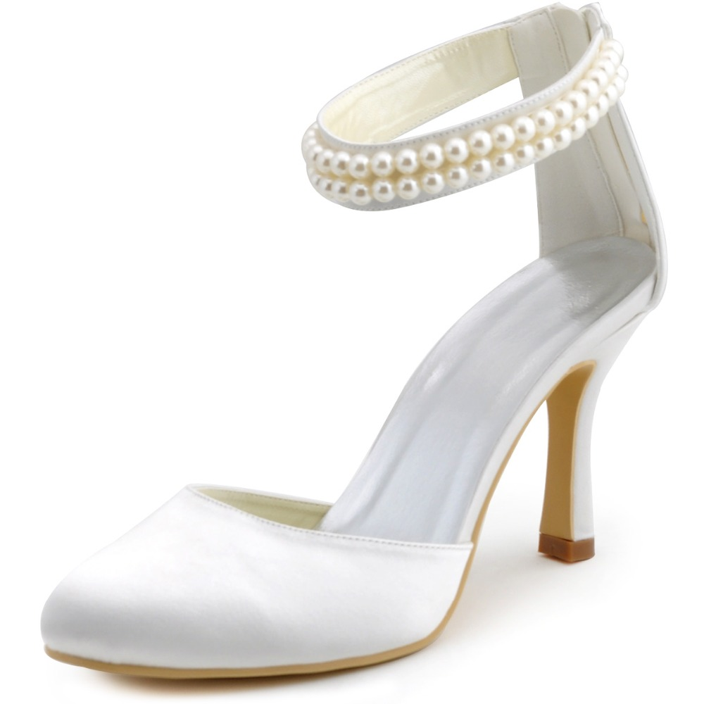 ФОТО AJ3065 Ivory Women Shoes Prom Party Pumps Closed Toe Pearls Ankle Strap Satin Wedding Bridal Shoes