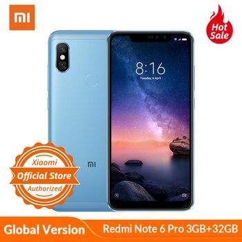 Купить Xiaomi Redmi Note 6 Pro 3 ГБ 32 ГБ, глобальная Версия Мобильный телефон, 6,26 дюйма, полный экран, Snapdragon 636, двойная AI камера, фронтальная камера 20 МП
