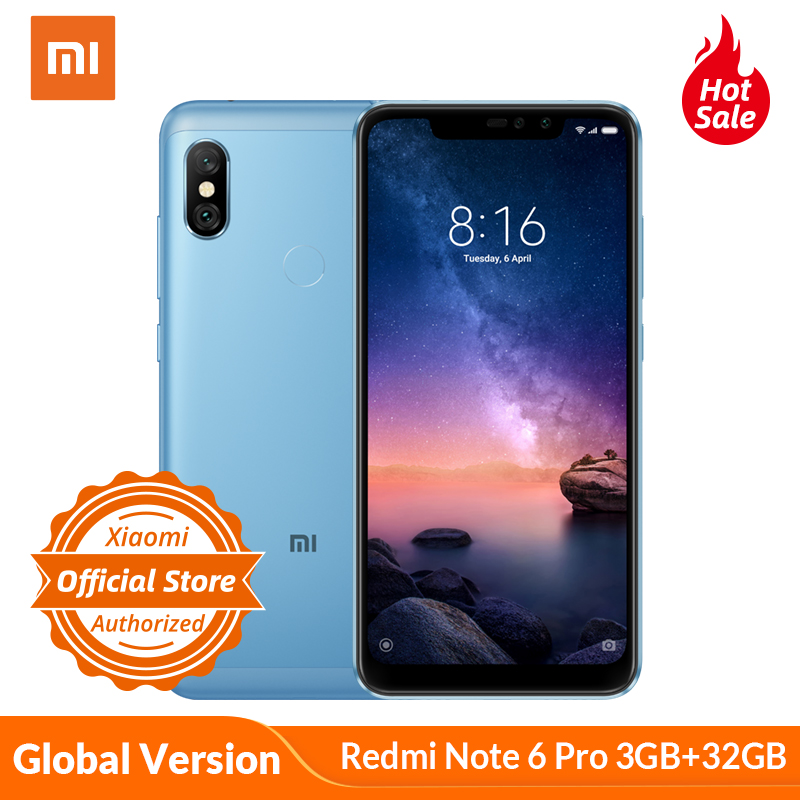 Xiaomi <font><b>Redmi</b></font> Note <font><b>6</b></font> Pro 3GB <font><b>32GB</b></font> <font><b>Global</b></font> <font><b>Version</b></font> Mobile Phone <font><b>6</b></font>.26'' Full Screen Snapdragon 636 Dual AI Camera 20MP Front Camera image