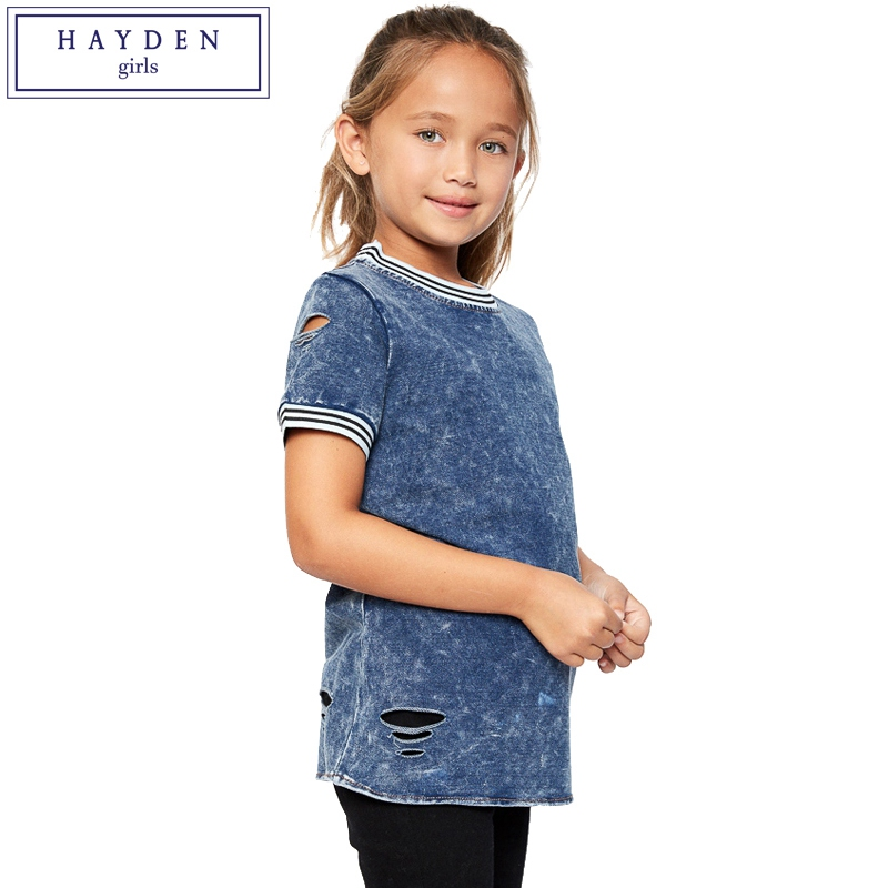 ФОТО HAYDEN Short Sleeve T Shirt Girls Teens Tees Denim T-Shirt Girl Summer Teenage Clothes 2017 Girls Cotton Tshirt 10 12 14 Years