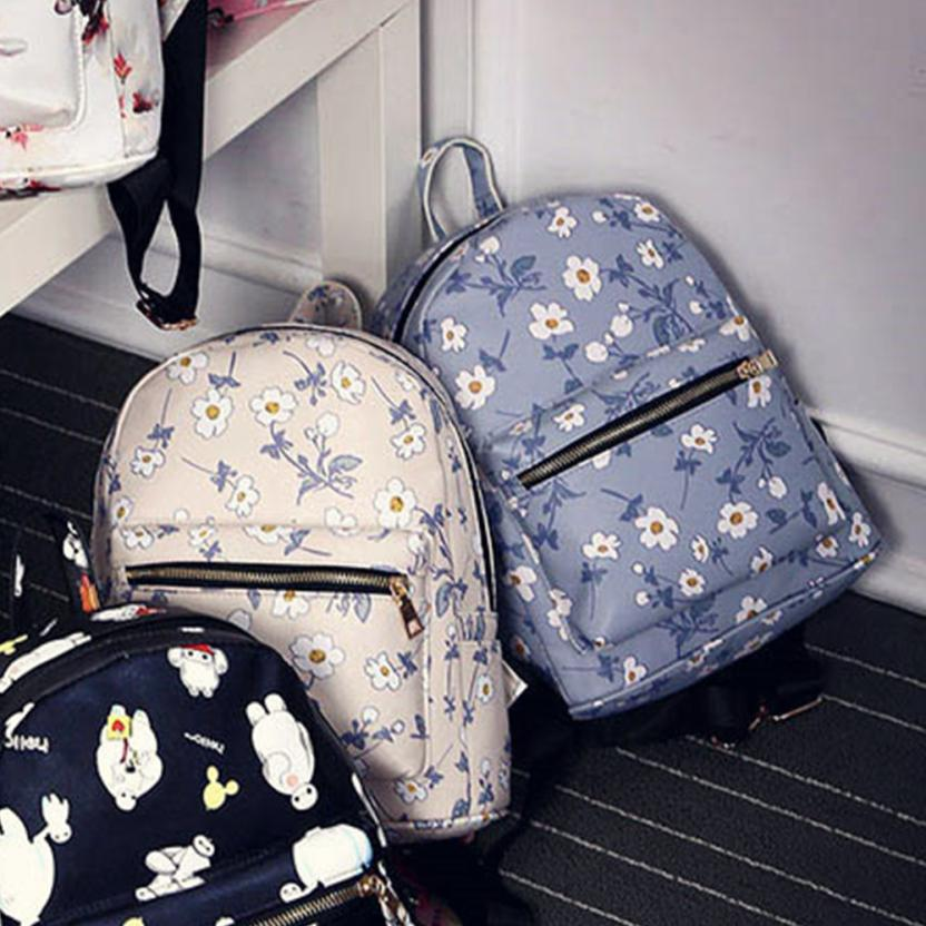 maison Backpacks high quality Leather fashion girl Floral Printed School Backpack Zipper Travel backpack women 2018MA15