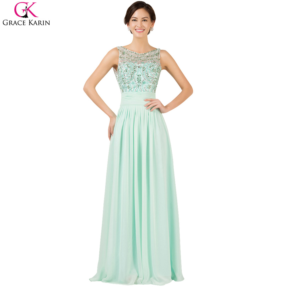 beaded pale green prom dress