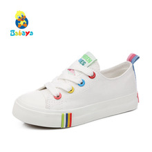 Kids Shoes For Girl Children canvas shoes boys Candy color laces 2017 Spring Autumn white sneakers children single shoes girls