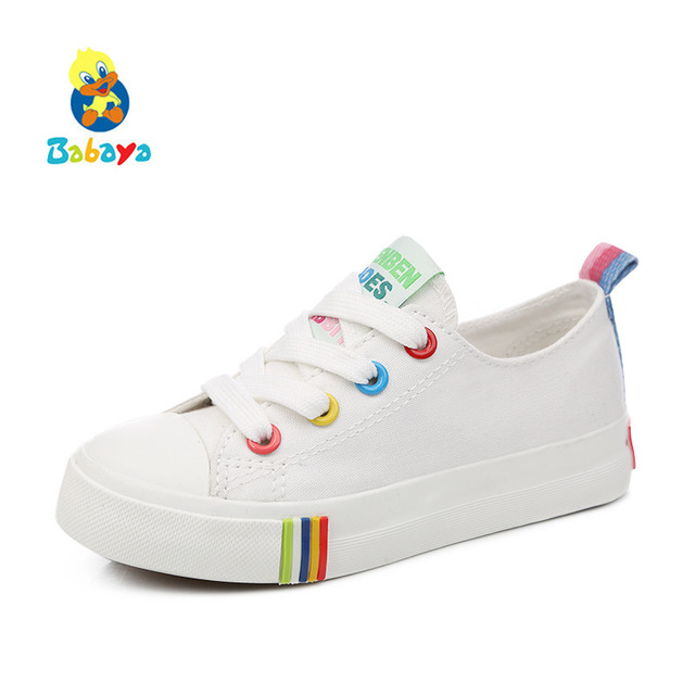 d244de33f3f9e US $11.09 26% OFF|Kids Shoes For Girl Children canvas shoes boys Candy  color laces 2017 Spring Autumn white sneakers children single shoes  girls-in ...