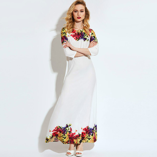 d1643e3b Women Dresses Chiffon Dresses Floral Print Party Evening Boho Beach Maxi  Dress Summer Comfortable White Evening Long Dresses 128