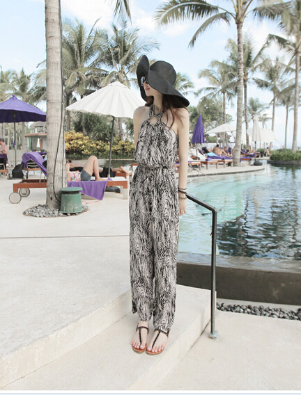 Free Shipping High Quality Hot Sale Korean Leisure Leopard Halter Neck Woman Chiffon Jumpsuit 5