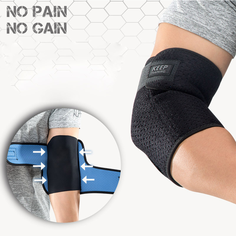 NO PAIN NO GAIN Breathable Sports Elbow 1 Pc Bandage Basketball Elbow Pads Support Adjustable Pads Arm Sleeve Gym TQHZ