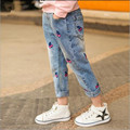 Girls Cherry Print Jeans Hot 2017 Spring  Autumn Sweet Children Denim Long Pants Loose Washed Trousers For Child