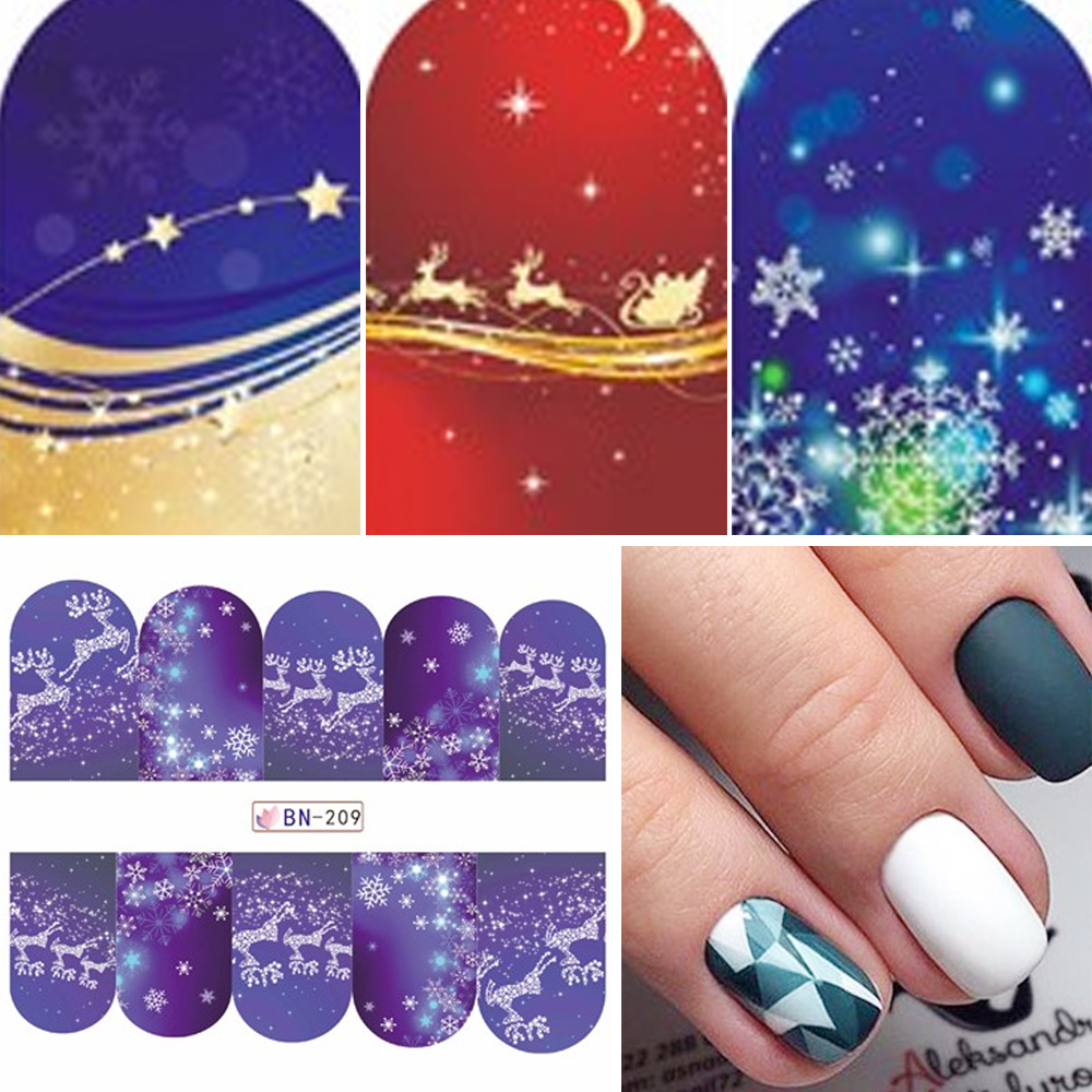 48pcs/lot Christmas Style Nail Stickers Snowflake/Santa /Bell/Deer Nail Art Water Transfer Decals Full Wraps DIY SABN205-252 merry christmas deer snowflake window removable wall stickers