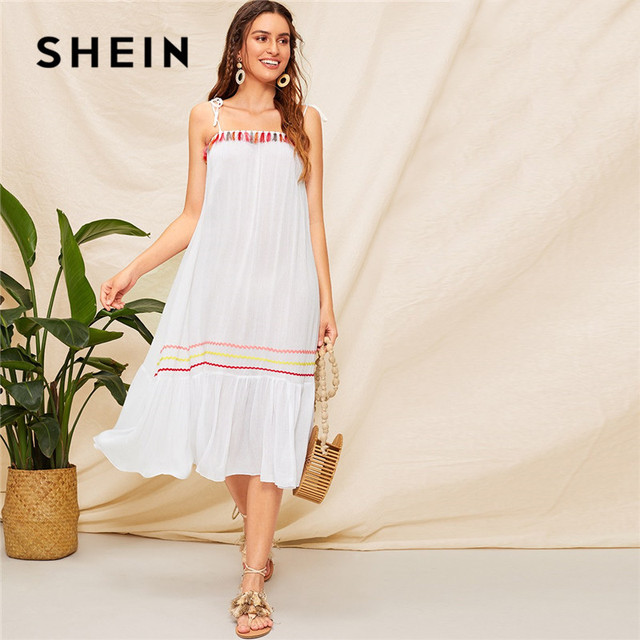 68183061b SHEIN Tassel Trim Wave Tape Ruffle Hem Slip White Summer Dress 2019 Women  Boho Solid Sleeveless Drop Waist Loose Long Dress
