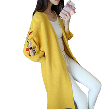 Women Sweaters Autumn Winter 2017 Long Knitted Cardigan Foral Embroidered Lantern Sleeve Pocket Outerwear Female Sweater Jacket