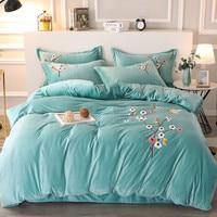 Crystal Velvet Bedding Set Duvet Cover Pillow Case Flat Bedclothes Set Plum Blossom Trees Warm Soft Fleece Fabric Bed Linen