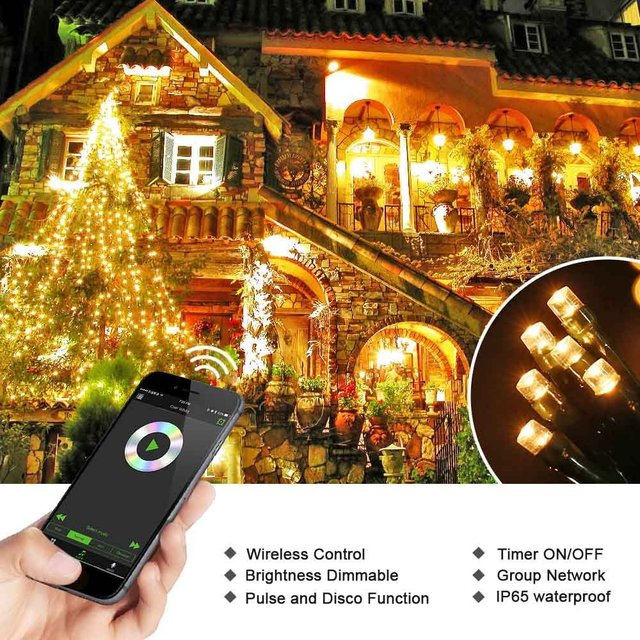 New Hot Dimmable LED Christmas Lights, 200 LED 65ft Mini String Lights,  Bluetooth LED - New Hot Dimmable LED Christmas Lights, 200 LED 65ft Mini String