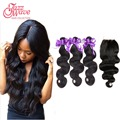 Brazilian Hair Weave Bundles With Closure Brazilian Body Wave With Closure Humain On Line tissage bresilienne avec closure