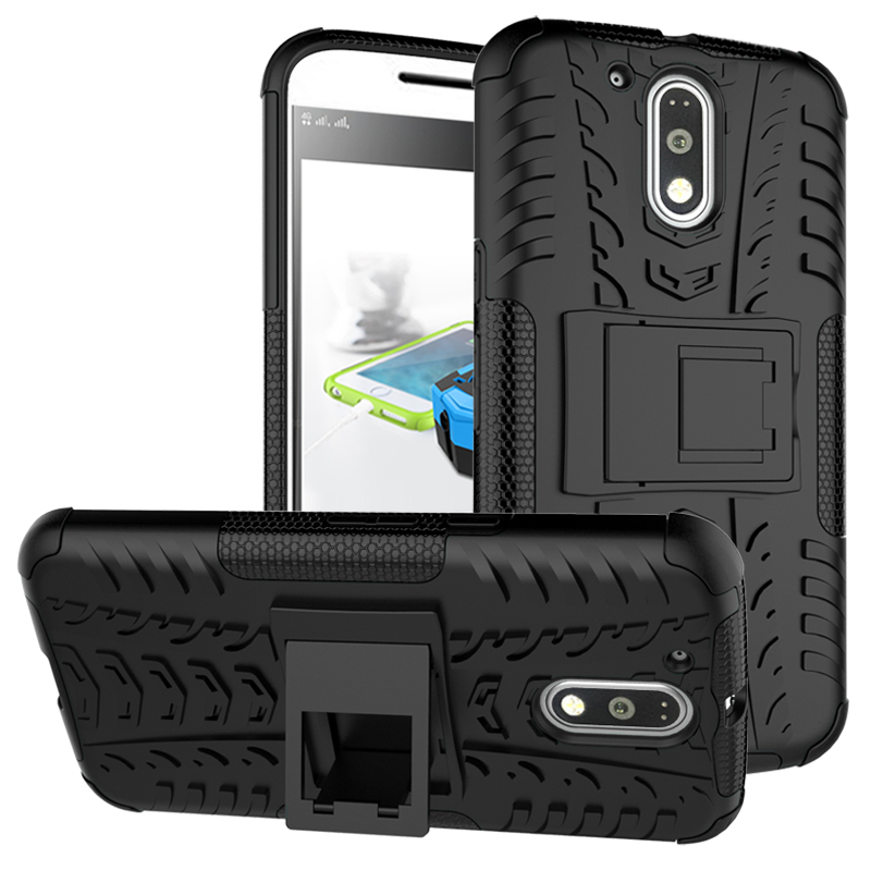 2 In 1 Heavy Duty Strong Rugged Armor Tire Style Hybrid TPU PC Hard Stand Bracket Case For Motorola MOTO G4 G4 Plus