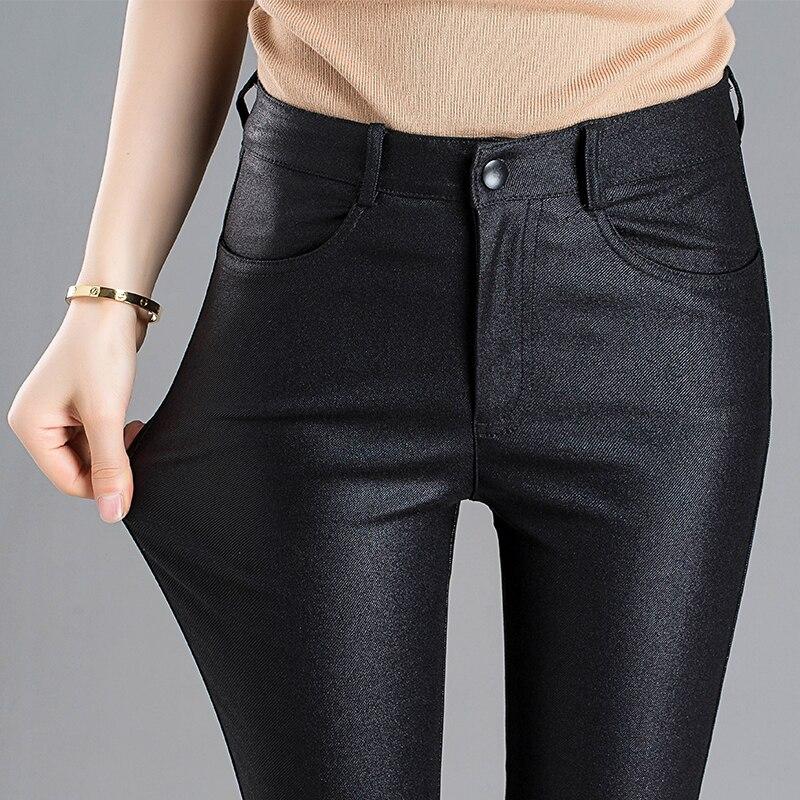 2018autumn winter new female Matte black scrab chaparajos leggings moderate-elasticity mid-waist coating PU imitation leather