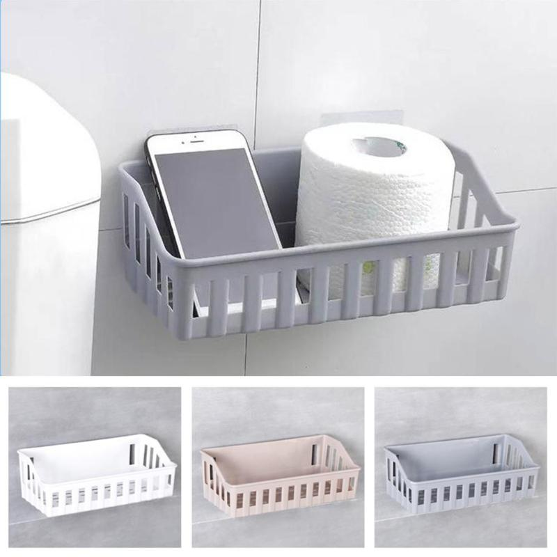 Punch-free Bathroom Shelf Plastic Toilet Bathroom Vanity Wall Hanging Bathroom Storage Rack Basket Cosmetics Organizer Rack
