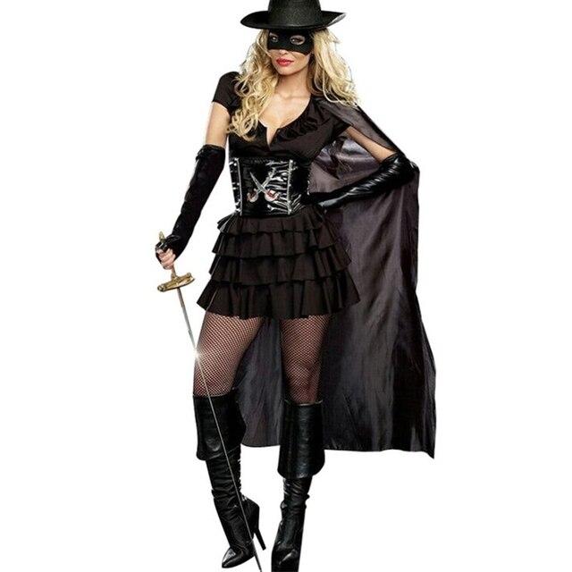 Doppio Taglio Diva Sexy Zorro Costume Fantasy Bandito Mascherato Festa di  Carnevale di Halloween Donne Costumi 3b45bdc63d89