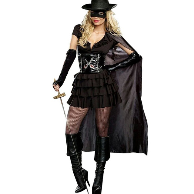 Double Edged Diva Sexy Zorro Costume Fantasy Masked Bandit Female Luxury Party Halloween Carnival Women Costumes  sc 1 st  AliExpress.com & Double Edged Diva Sexy Zorro Costume Fantasy Masked Bandit Female ...