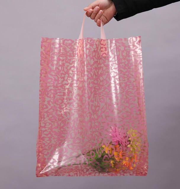 Qi 50pcs/lot Pink Plastic Gift Bags,Plastic Shopping Bags Size:30x41cm Plastic Packing Bags With Handle