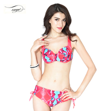 2016 New Print Floral Sexy Swimsuit High Waist Bikini Set For Women Push Up Triangle Swimwear Big Cup Bathing Suit 6138