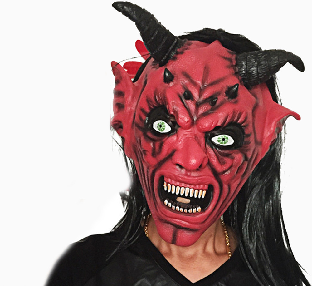 ᗕnew bloody face off horror halloween costume mask halloween