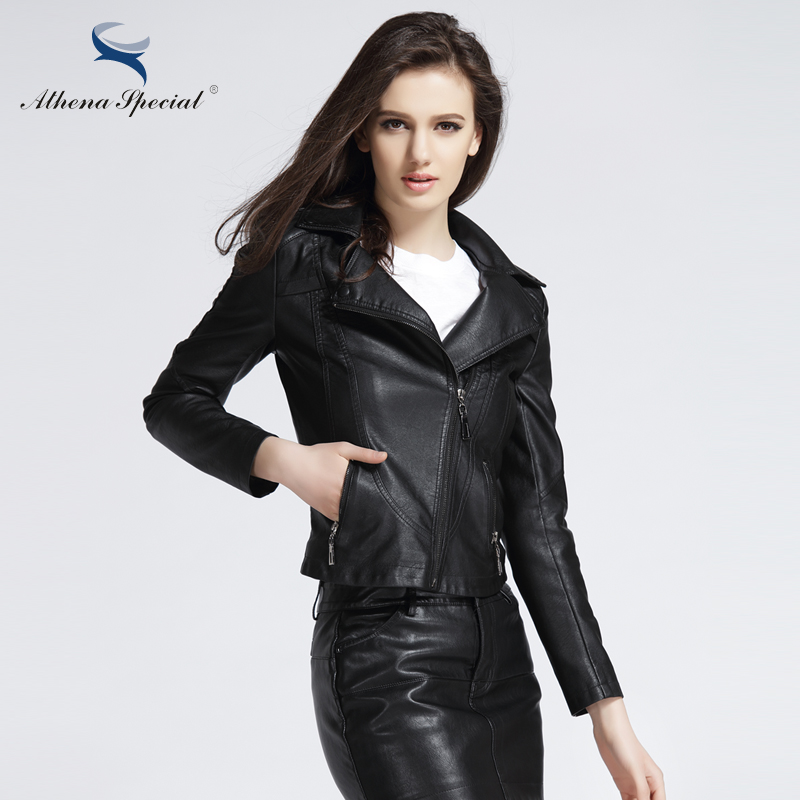 f153557536fc Athena Special 2018 New Designer Leather Jacket Women PU Leather Short  Streetwear Motorcycle Jackets And Coats Slim Style-in Leather & Suede from  Women's ...