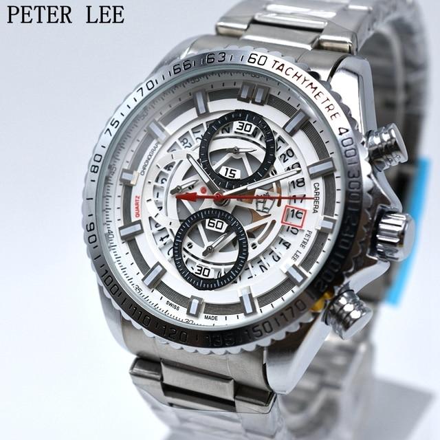 43c1ace4a42 PETER LEE Homens Luxo Marca Men Quartz Relógio de aço Inoxidável Stop Watch relogio  masculino Relógio