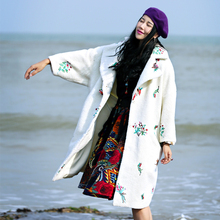 LYNETTE'S CHINOISERIE 2016 autumn winter women thickening wool coat white embroidered berber fleece outerwear wadded jacket