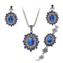 Elegant Womens 3Pcs/Set Round Flower Pendant Necklace Bracelet And Earring Set Bridal Wedding Jewelry Crystal Cubic Zircon Gift