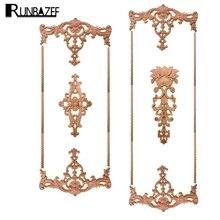 RUNBAZEF Solid Wood Decoration Furniture Decorative Flower Wooden Piece Carved Lintel Decal Home Decor Figurine Miniature