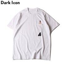 Иероглиф хип-хоп футболка Короткие рукава Лето 2017 г. Ким Кардашян карман мужские и женские футболки повседневные футболки белый