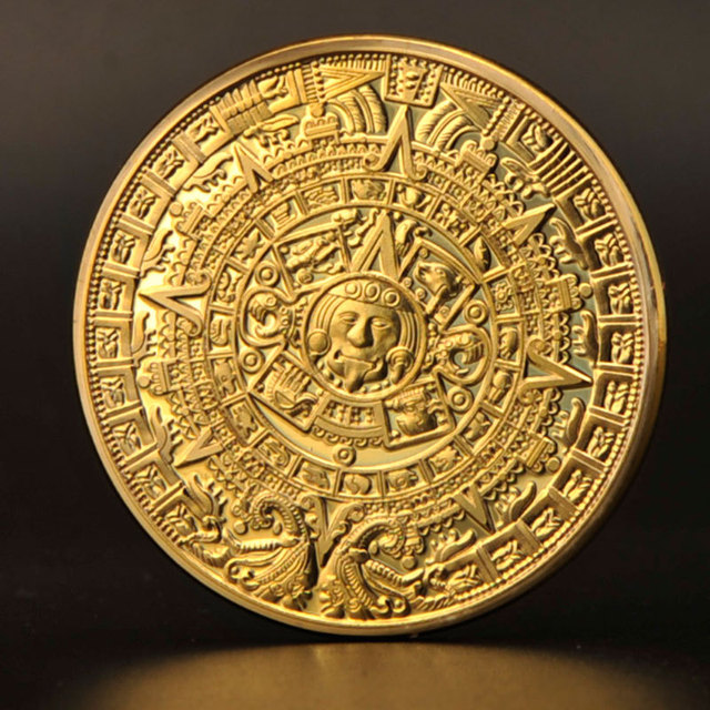 5 X  Excellent Replica Mayan Prophecy Commemorative Coin 999 gold plated