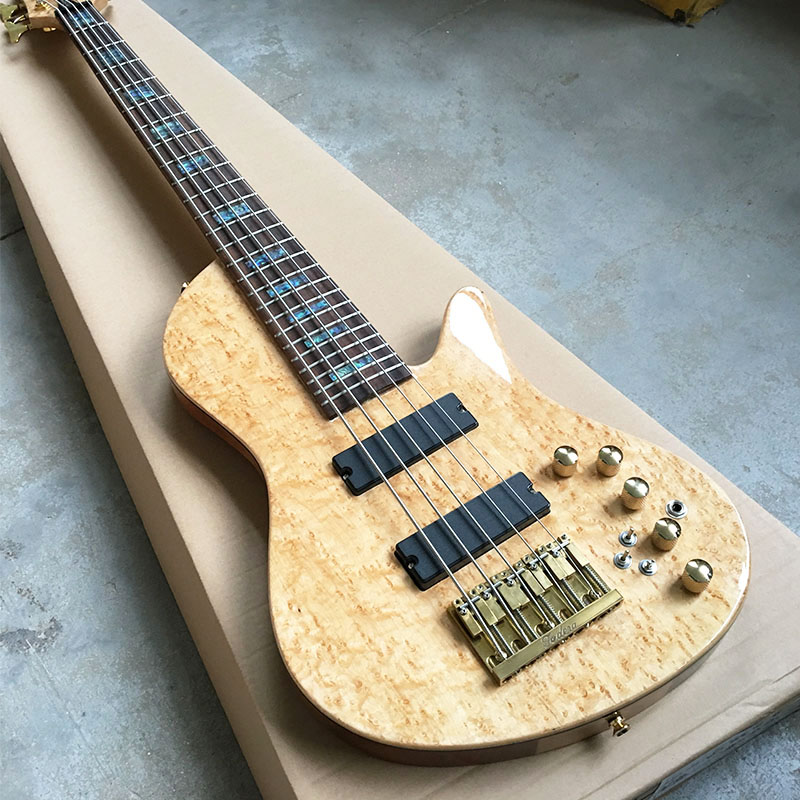 Grote, High quality 5 string bass guitar; Through the maple neck and ash body; Gold accessories, butterfly inlay