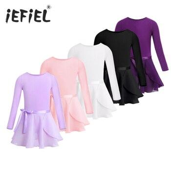 Girls Ballet Leotard Dancewear Cotton Long Sleeves Dance Class Gymnastics with Chiffon Tied Skirt Set Ballerina Clothing - discount item  25% OFF Stage & Dance Wear