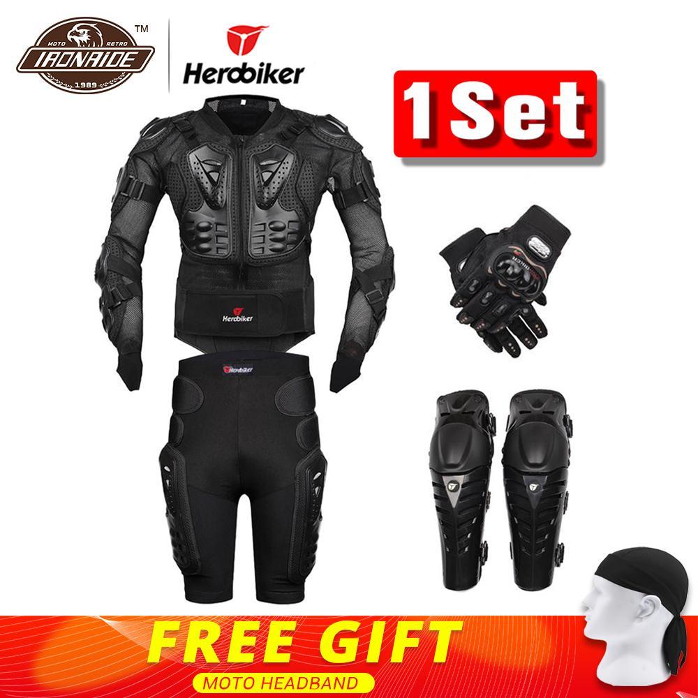 Nueva Moto Motocross Racing Motorcycle Body Armor Protective Gear motocicleta chaqueta + Pantalones cortos + protección rodilleras + guantes guardia