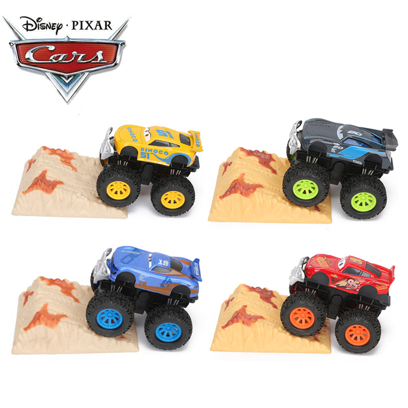 Set Of 4 Disney Pixar Cars 3 Toys 9cm Stunt Big Foot Die-cast Car  Lightning McQueen Jackson Storm Dinoco Pull Back Cars Model