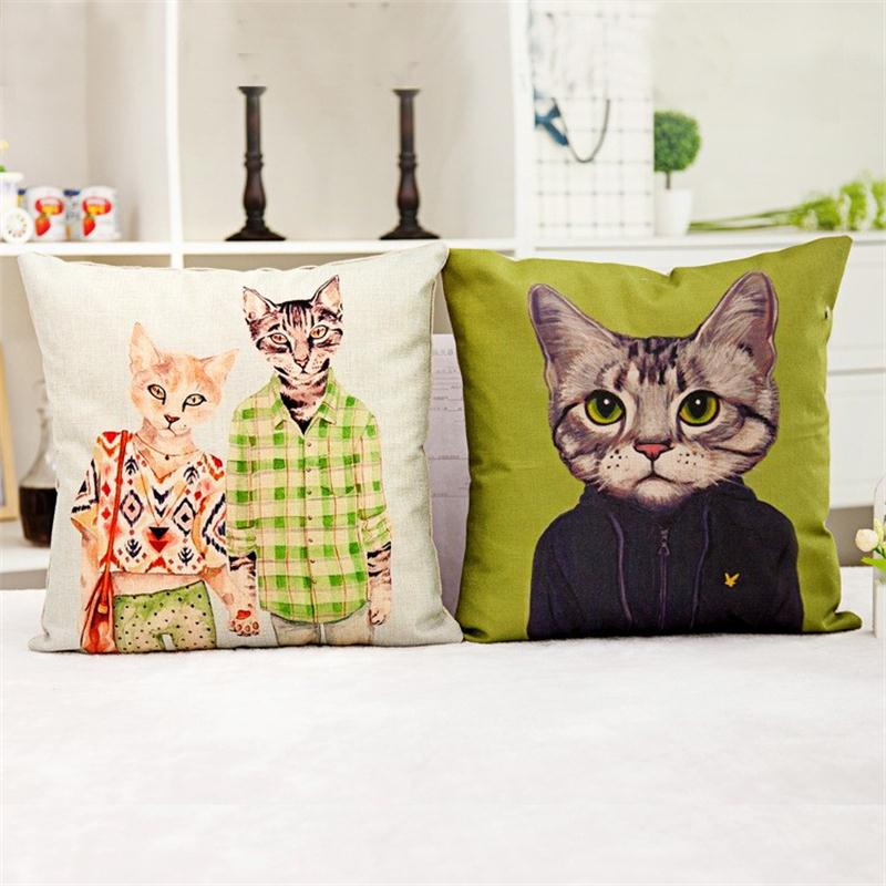 45*45cm cojines animal Cartoon Cushion Custom Cotton cat Decorative Throw Pillows Sofa Chair Cushions Home Decor coussin