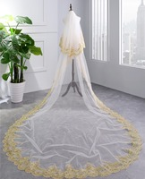 Cathedral Wedding Veil with Comb Gold Sequin Lace Applique Edge Bridal Veil Long Veils Wedding Accessories
