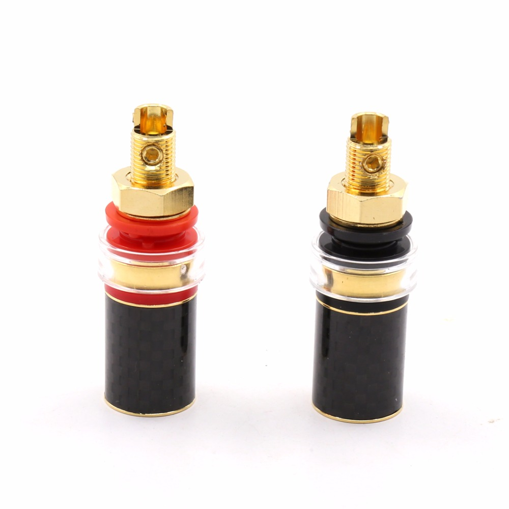 Viborg  4PCS High Quality  Carbon Fiber pure copper  24K Gold Plated  Speaker Amplifier Terminal Binding Post  for AMP CD player 4 pair ebony and metal shock spikes 33mm tube amplifier speaker hiend 4 pcs pure dowel 4 pcs pure wooden mat