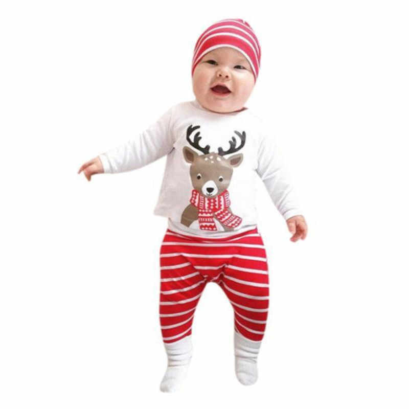 ARLONEET/Коллекция 2019 года, топы с рождественским принтом оленя для новорожденных мальчиков и девочек возрастом от 6 до 24 месяцев + штаны + шапочка, одежда Прямая поставка, Oc30