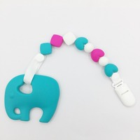 Elephant Pacifier Clips Silicone Teething Toys Cute Baby Teether Chains Toy Or Accessory For Baby Pacifiers