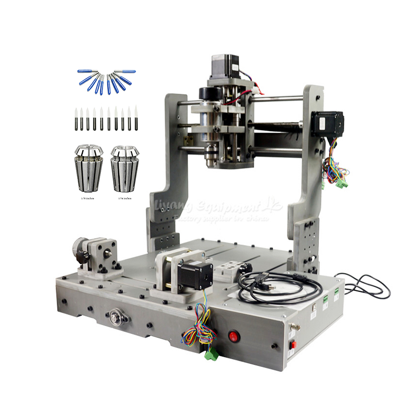 3 4 axis 300W spindle PCB DIY mini cnc lathe engraving machine 3040 with free cutter