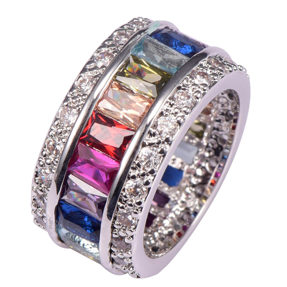 Weinuo Sterling-Silver-Bijoux Multi Couleur Cristal Zircon 925 Sterling Silver Bijoux En Gros Au Détail Bague pour Femmes Taille 6-12